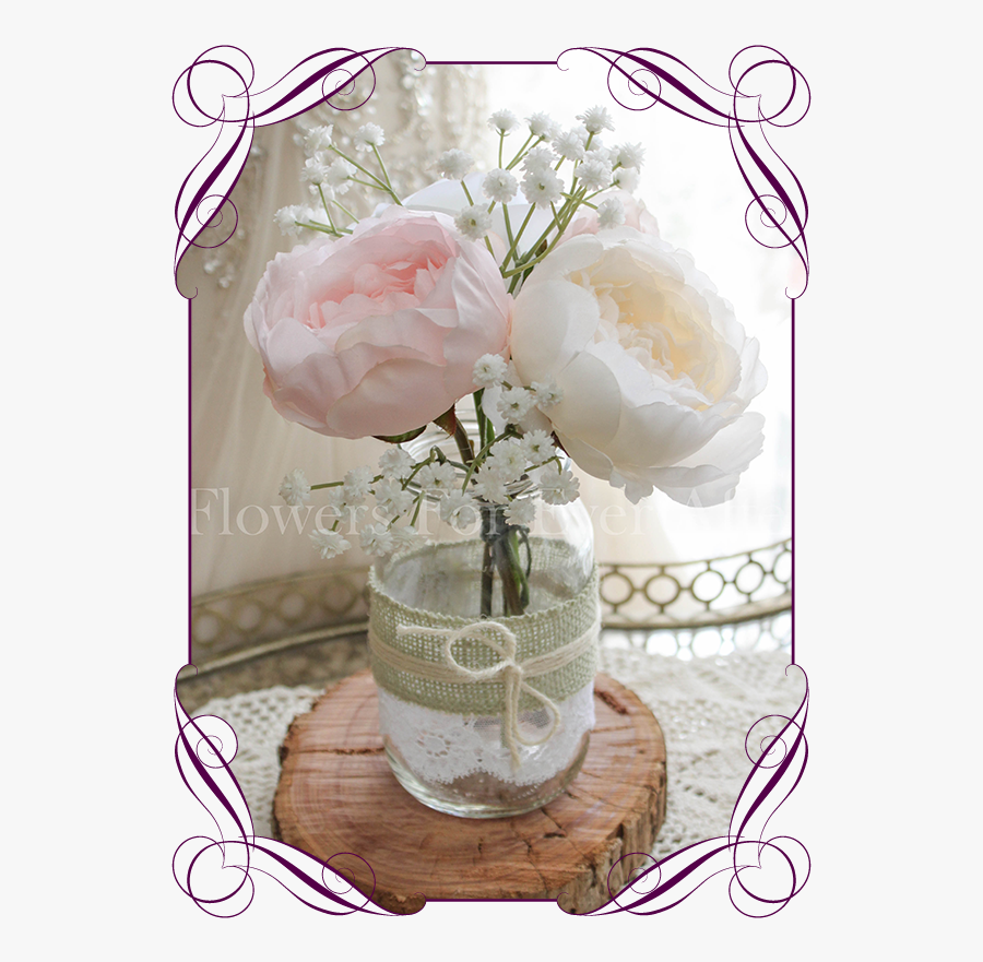 Clip Art Mason Jars With Babys Breath - Roses And Baby's Breath Wedding Bouquets, Transparent Clipart