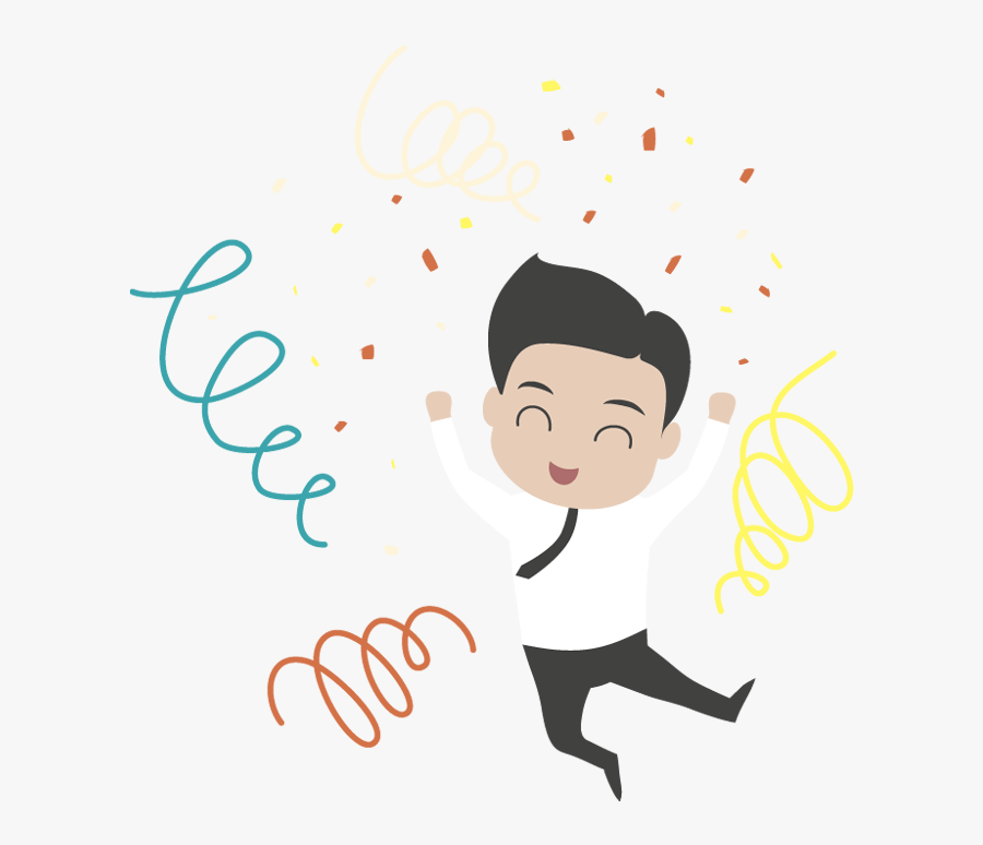 Happy Young Cartoon Businessman Jumping - Cartoon Happy Businessman Png, Transparent Clipart
