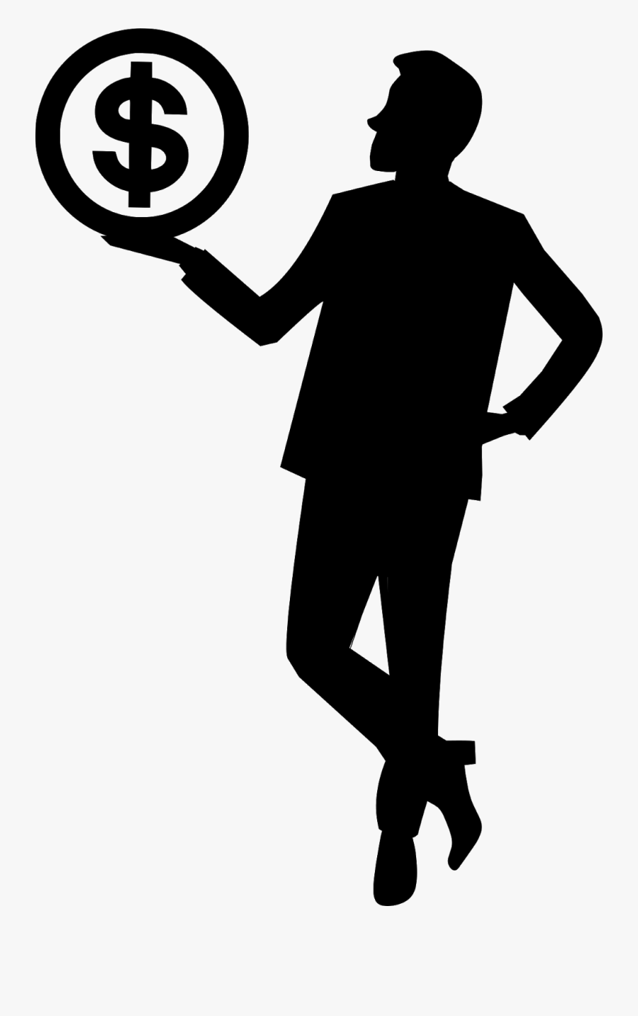 Businessman, Achievement, Bank, Silhouette, Banknotes, - Businessman Silhouette Money, Transparent Clipart