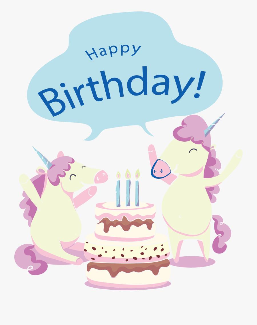 Clip Art Birthday Card Clip Art - Biglietti Di Auguri Unicorni, Transparent Clipart