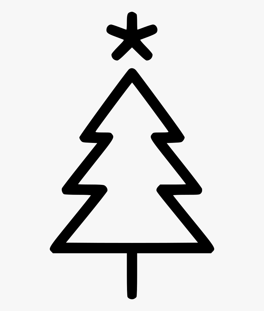 Transparent Christmas Tree Star Png - Simple Christmas Tree Outline, Transparent Clipart