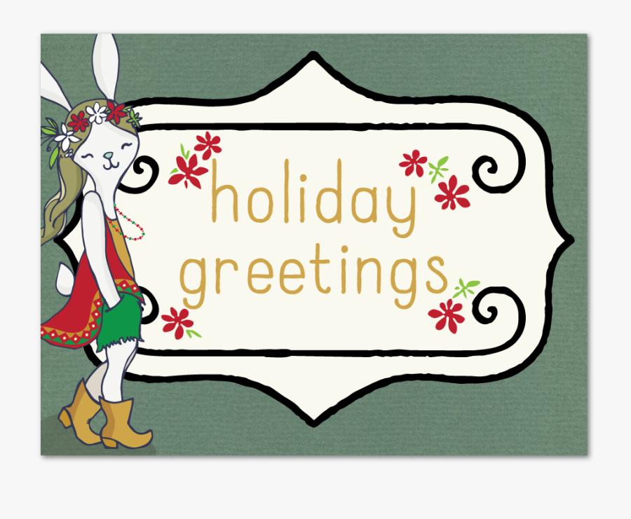 Bohemian Holiday Greeting - Cartoon, Transparent Clipart