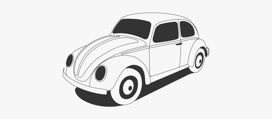 Car Clipart Old Time - Black And White Vw Beetle, Transparent Clipart
