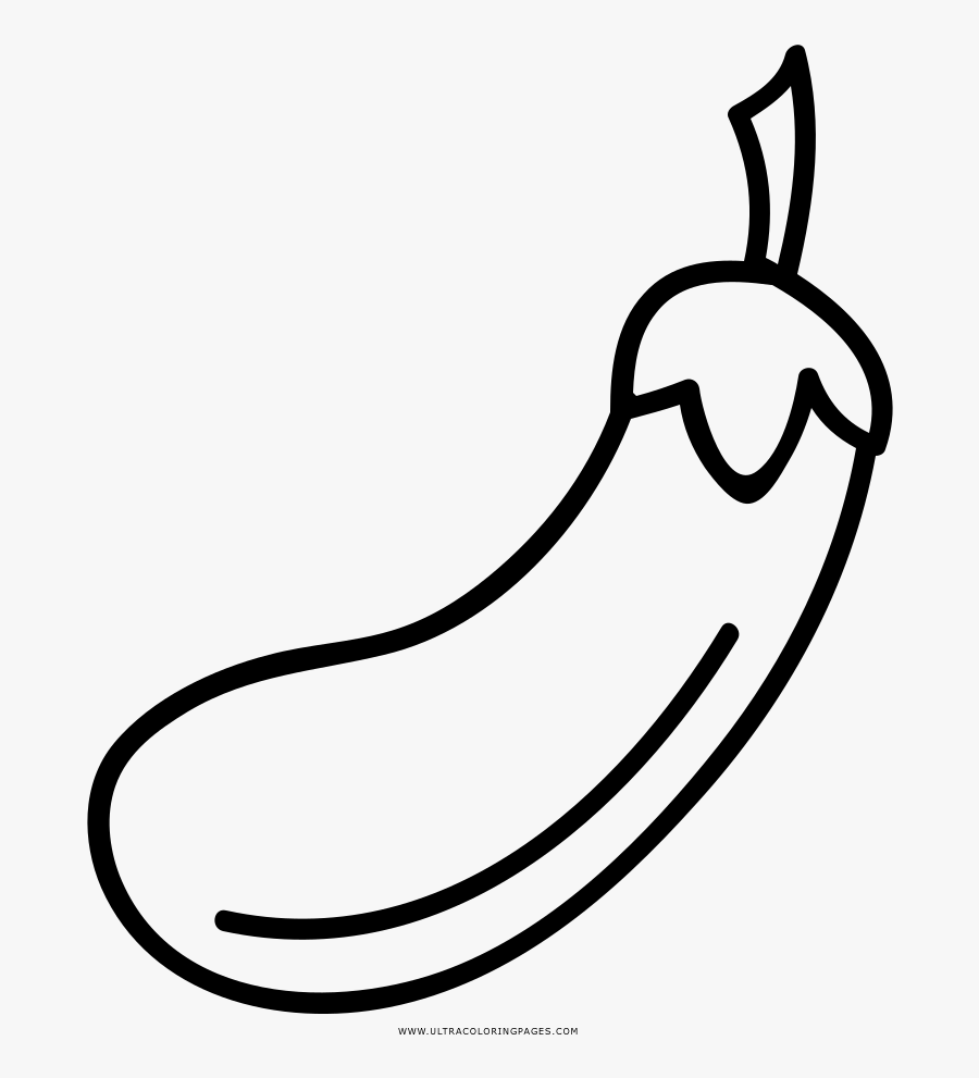 Eggplant Coloring Page - Line Art, Transparent Clipart