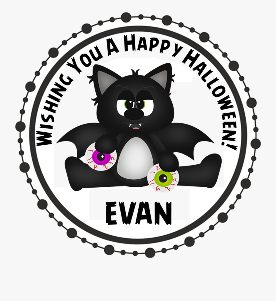 Black Bat Cat Halloween Stickers - Airplane Party Birthday Stickers, Transparent Clipart