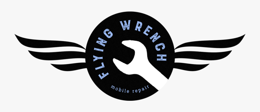Flying Wrench Mobile Repair Logo - Label, Transparent Clipart