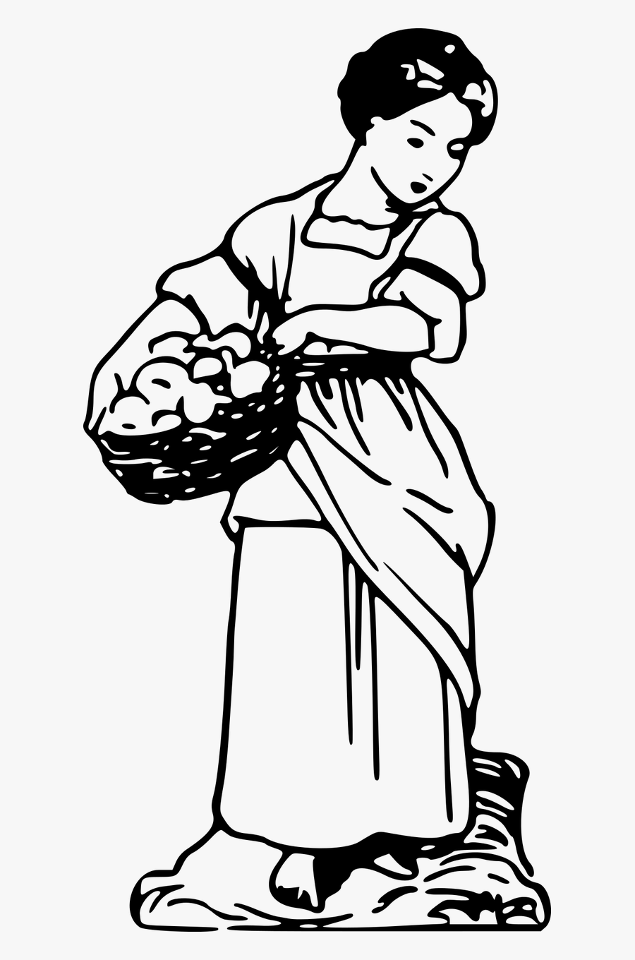 Basket Collect Collecting Free Picture - Mother Carrying Basket In The Market Line Art Image, Transparent Clipart