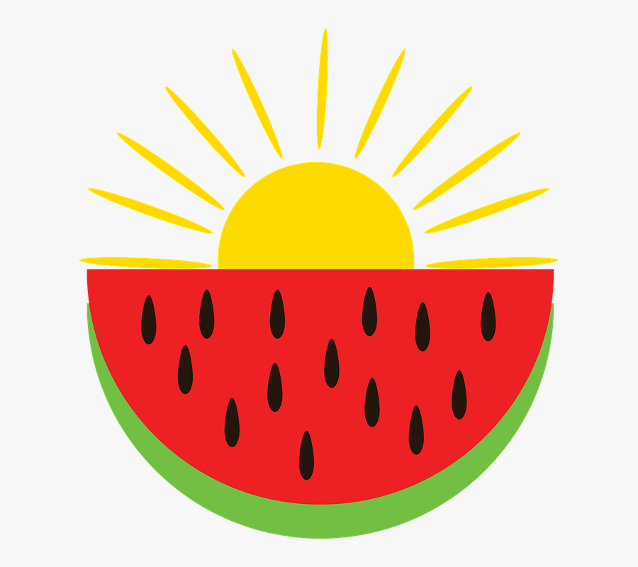 Red Watermelon, The Sun Is Shining, Summer Vacation - Gambar Semangka Belah Kartun, Transparent Clipart
