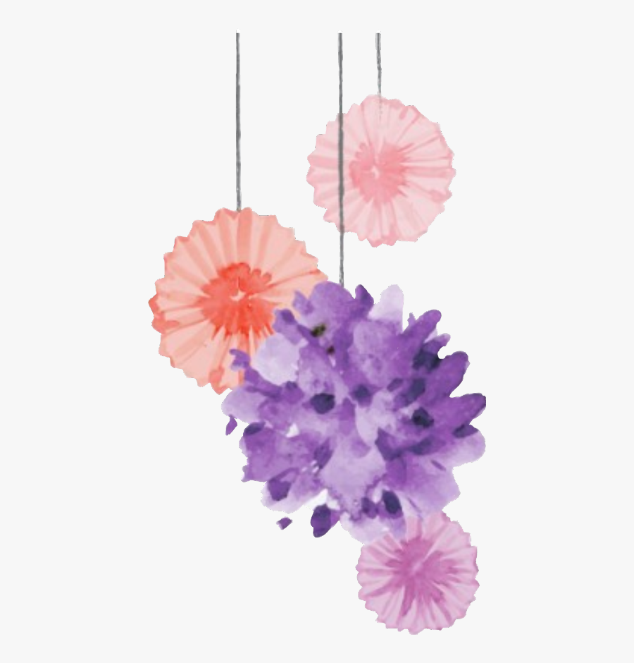 Pompoms Decorate Tumblr Celebrate Sticker Freetoedit Watercolor Flower Decoration Png Free Transparent Clipart Clipartkey