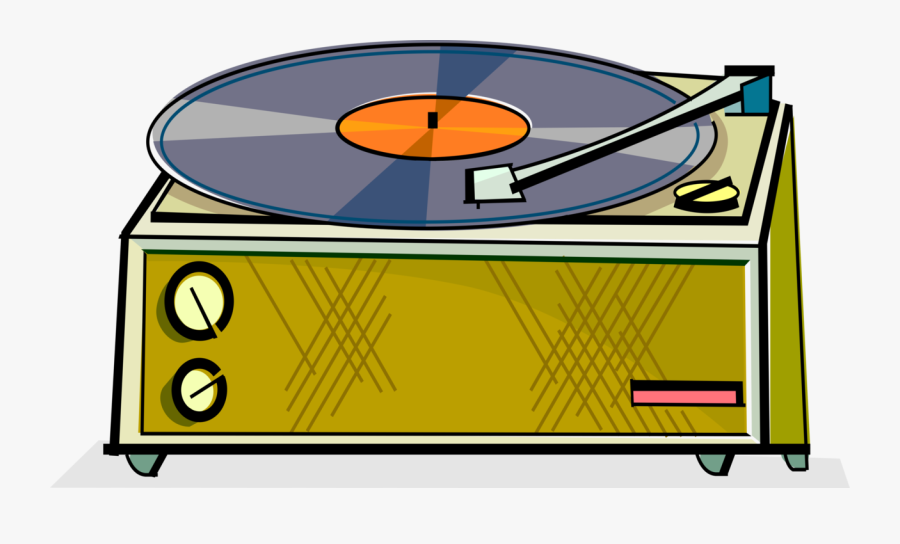 Vector Illustration Of Lp Vinyl Record Player Turntable - Record Player Clipart, Transparent Clipart