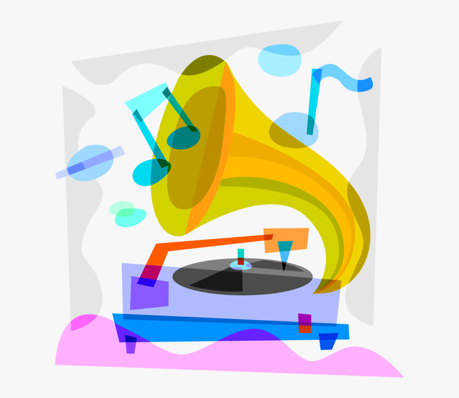 Vector Illustration Of Gramophone Phonograph Record - Graphic Design, Transparent Clipart