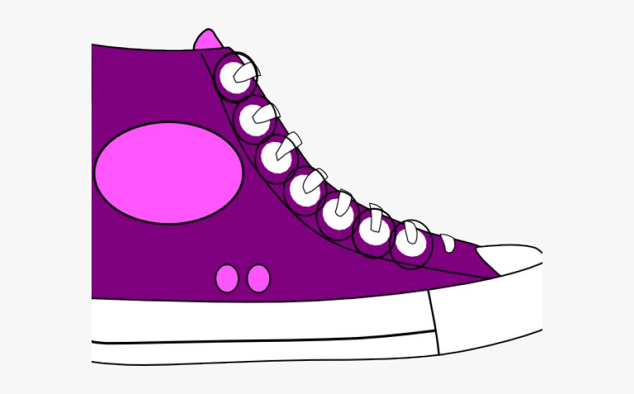 Converse Clipart Untied - Purple Tennis Shoe Clip Art, Transparent Clipart