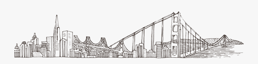 Brooklyn Bridge Golden Gate Bridge Drawing Vector Graphics - City Landscape Sketch, Transparent Clipart