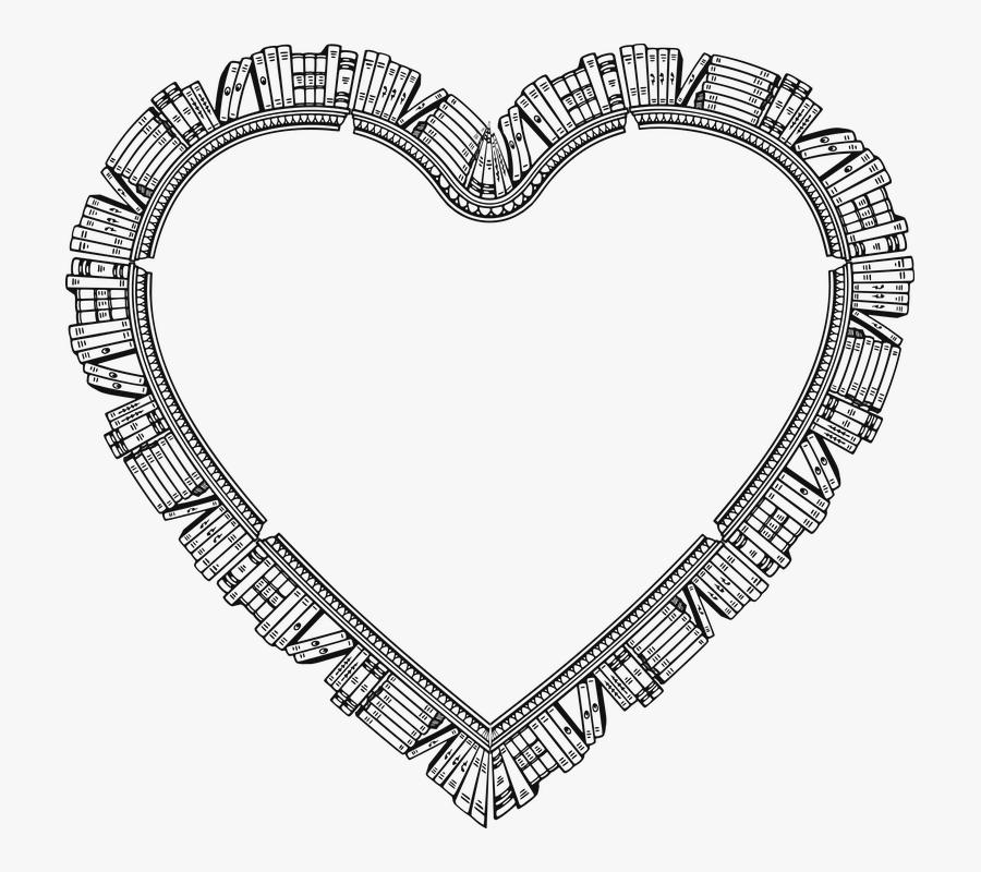 Bookshelf, Books, Heart, Read, Learning, Education - Cadre En Forme De Coeur Dessin, Transparent Clipart