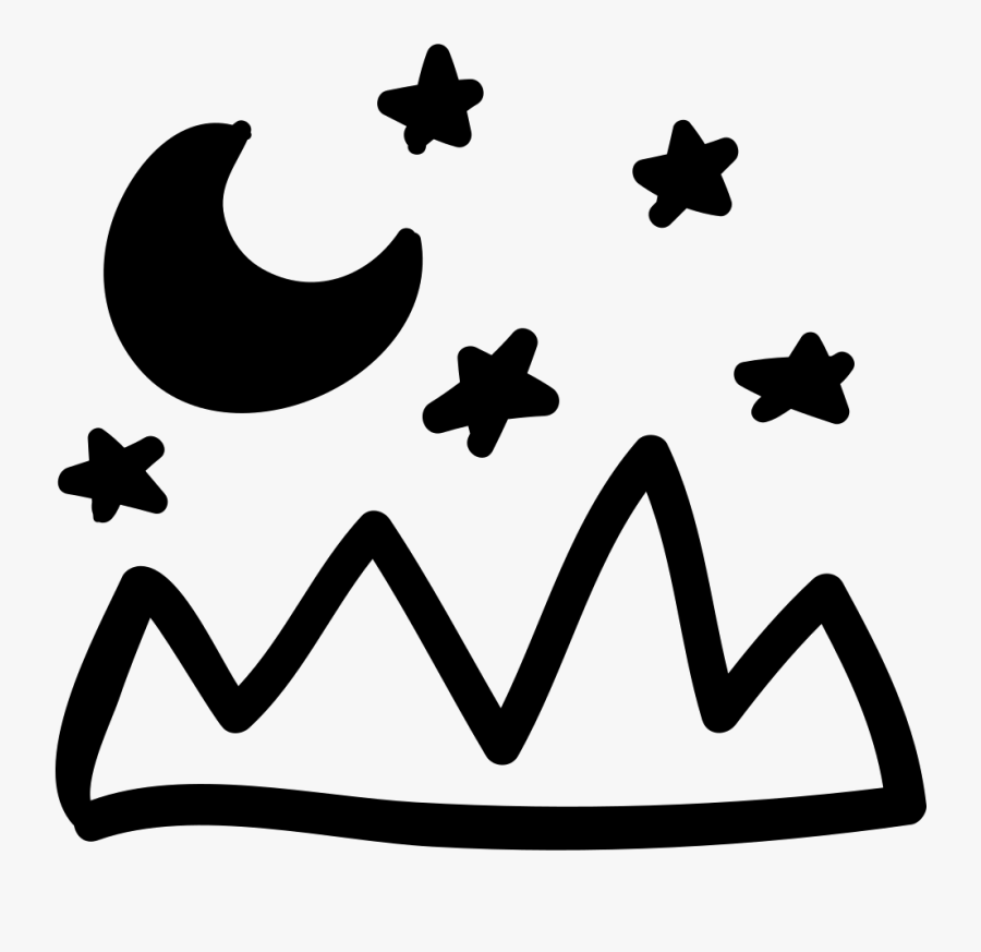 Mountains Landscape And Night Sky Hand Drawn View - Hand Drawn Moon And Stars Png, Transparent Clipart
