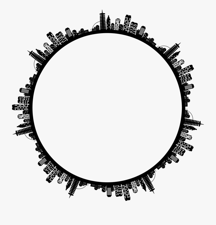 City Skyline Ii Radial Clip Arts - Circle City Skyline Png, Transparent Clipart