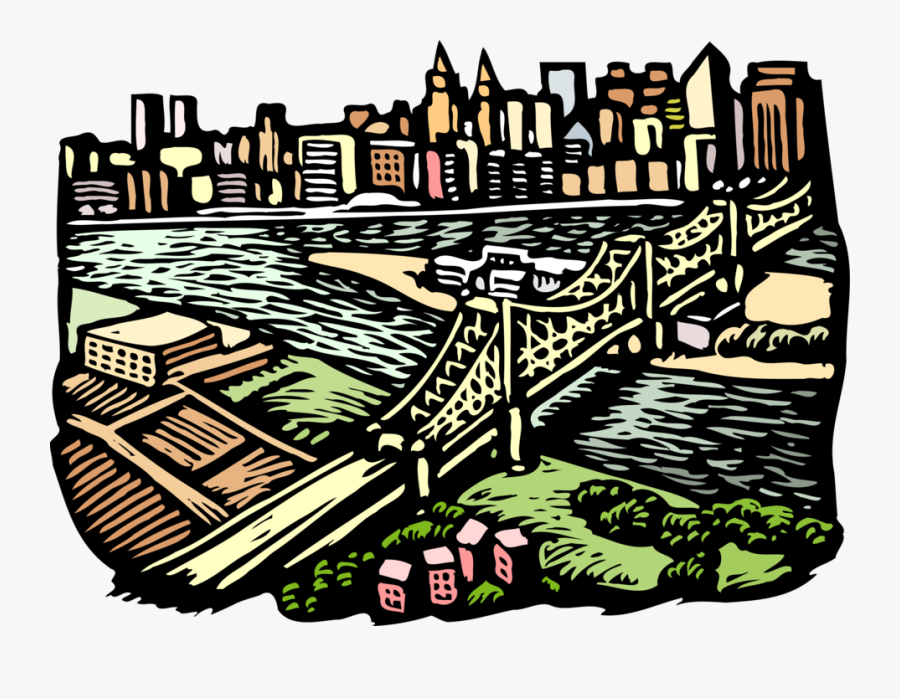 Vector Illustration Of Suspension Bridge With City, Transparent Clipart