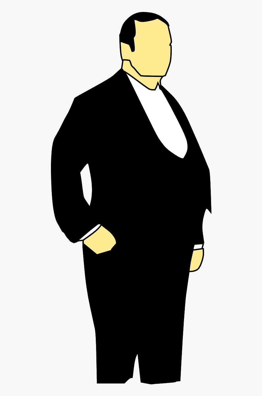 Tux Man Fat Free Picture - Fat Man In Suit Clipart, Transparent Clipart