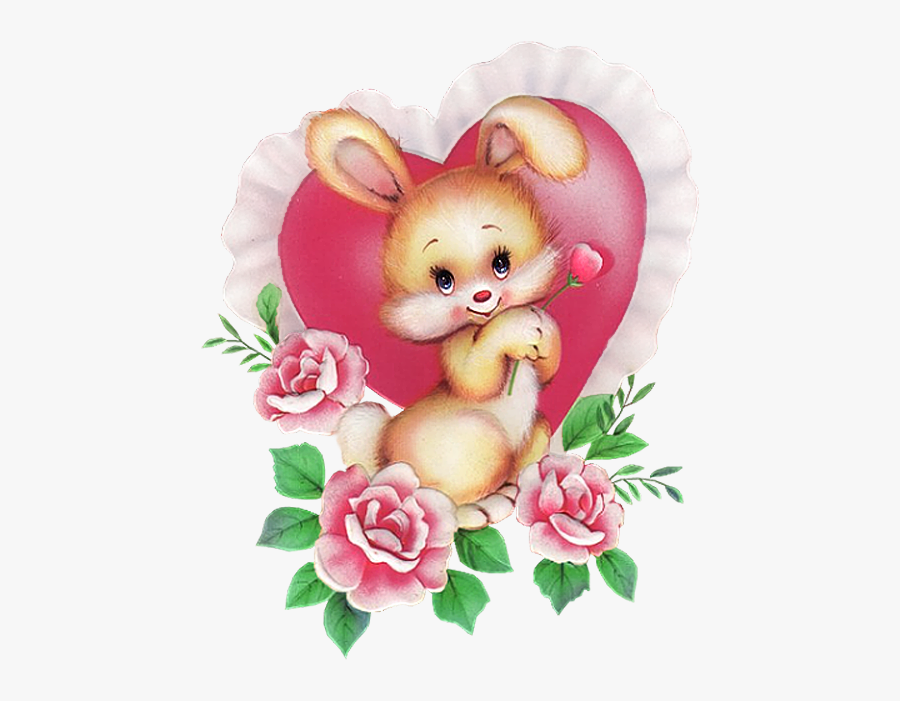 Bunny With Pink Heart Png Picture - Картинки Зайчиков С Сердечками, Transparent Clipart