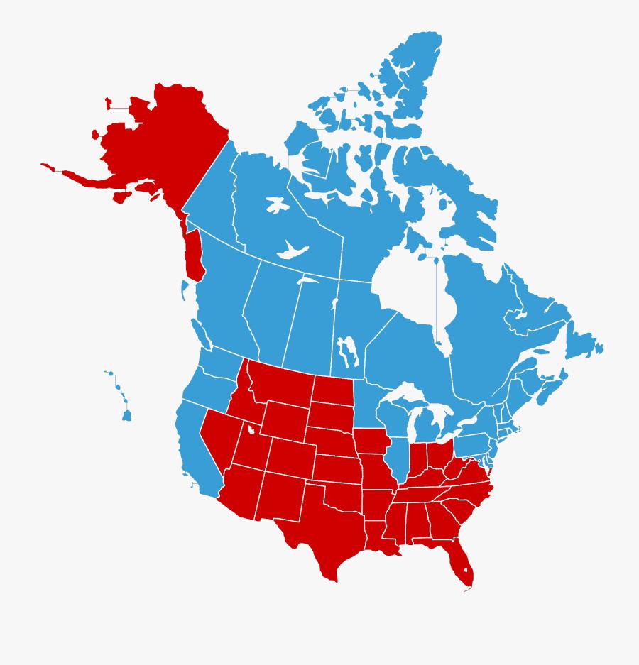 Transparent North America Clipart - United States And Canada, Transparent Clipart