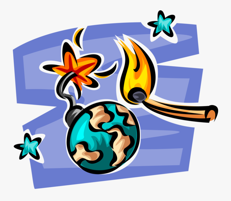 Vector Illustration Of Planet Earth Globe As Time Bomb, Transparent Clipart