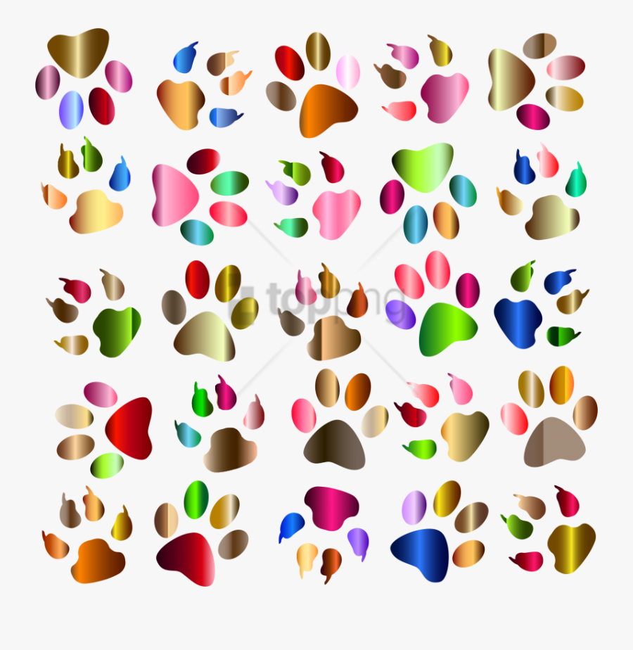 Free Png Colorful Footprints Png Png Image With Transparent - Dog Paw Print Clip Art Colorful, Transparent Clipart
