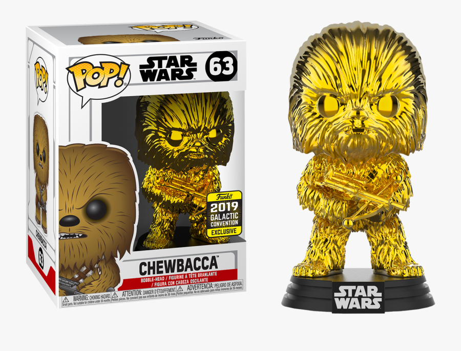 Chewbacca Gold Chrome 2019 Galactic Convention Exclusive - Star Wars Celebration 2019 Funko Pop, Transparent Clipart