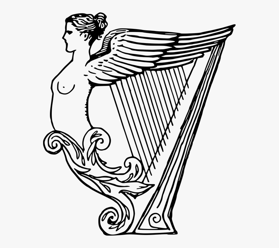 Female, Harp, Instrument, Lady, Music, Musical - Harp Instrument Drawing, Transparent Clipart