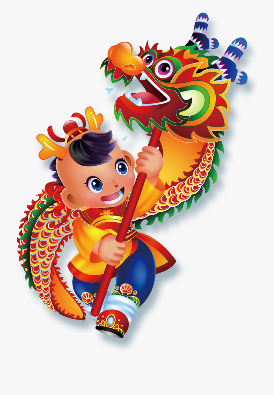 Dragon Dance Lion Dance Chinese New Year Cartoon Illustration - Lion Dance Cartoon Chinese New Year, Transparent Clipart