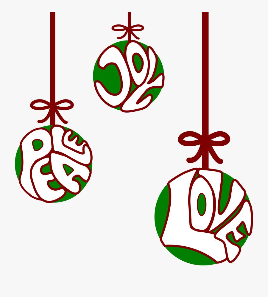 Balls Christian Christmas Free Picture - Peace Love Joy Clipart, Transparent Clipart