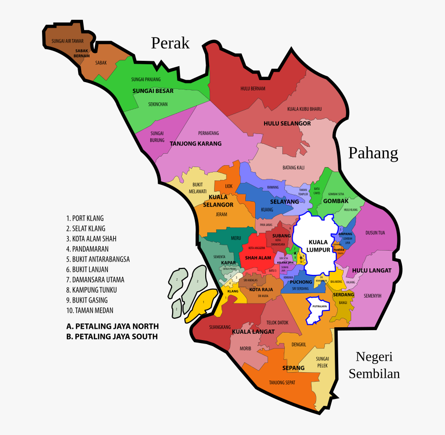 Constituencies Clipart Free For Download - Kuala Lumpur District Map, Transparent Clipart