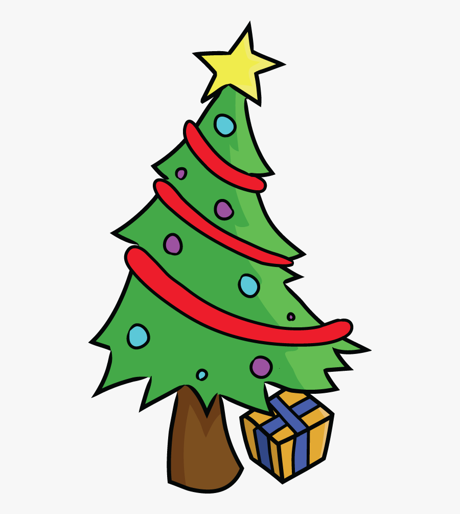 Cartoon Tree With Funny Face - Christmas Tree Png ...