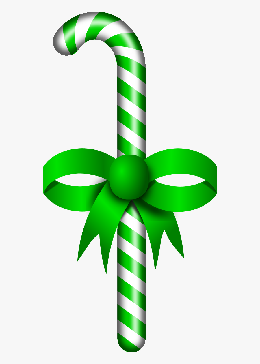 Candy Stick Red Ribbon - Santa Claus Candy Stick, Transparent Clipart