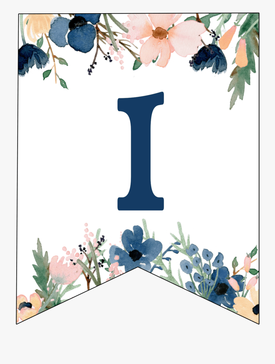 Blue & Pink Floral Banner Letters Free Printable - Floral Blue Alphabet Banner All Letters, Transparent Clipart