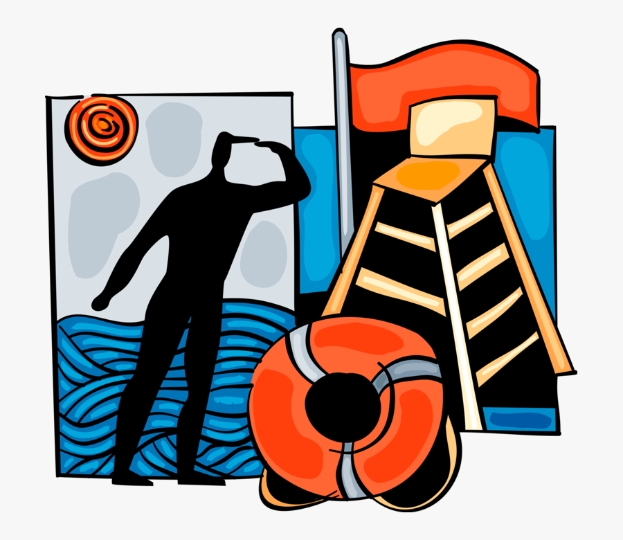 Vector Illustration Of Lifeguard Keeping Watch On Beach, Transparent Clipart
