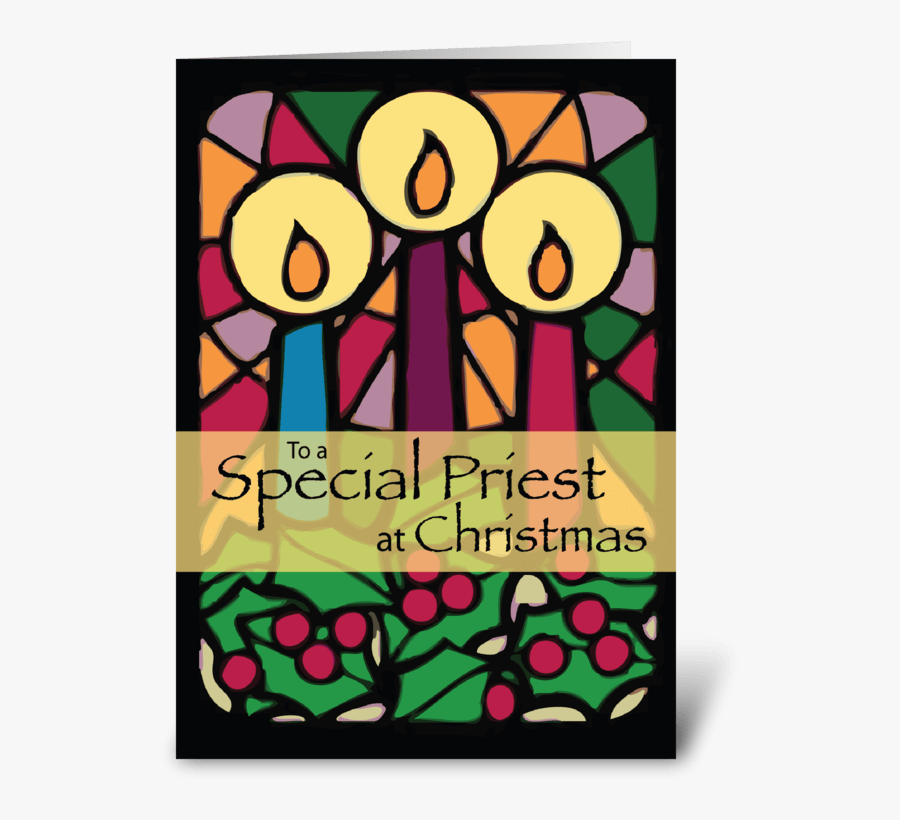 Priest Christmas Candles Greeting Card - Greeting Card, Transparent Clipart