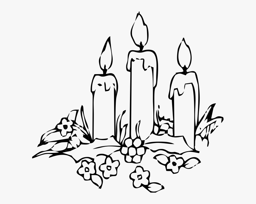 Candle Coloring Book Decorative - Drawing Of Christmas Candles, Transparent Clipart