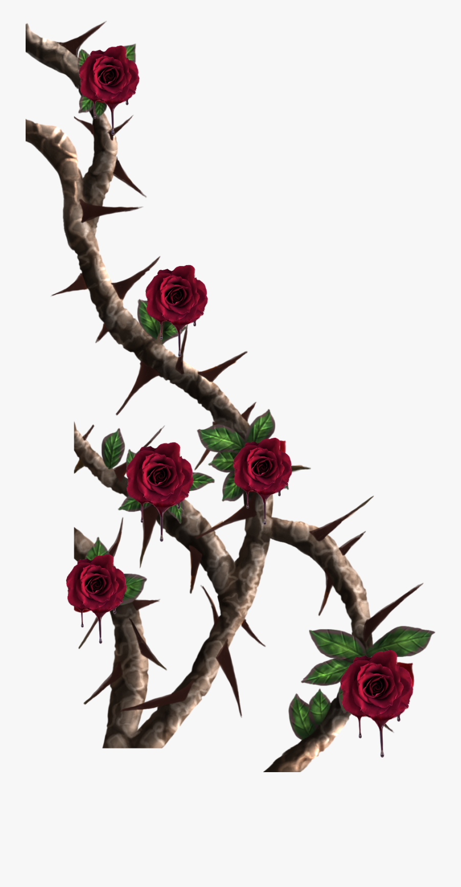 #vines #roses #rose #vine #red #thorns #melting #drip - Roses With Thorns Png, Transparent Clipart