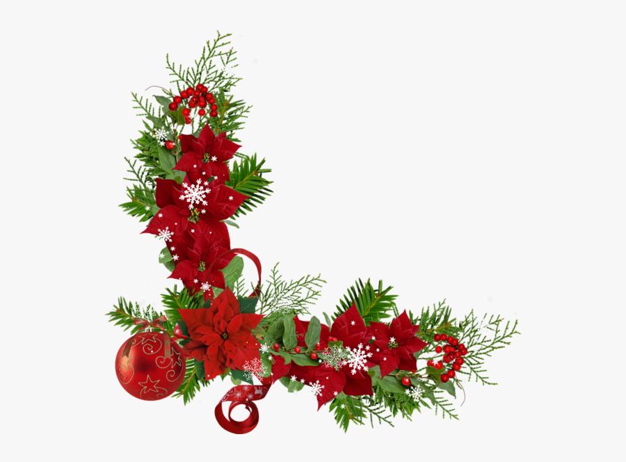 Bordures,coins,tubes Christmas Flowers, Christmas Graphics, - Transparent Christmas Corner Border, Transparent Clipart