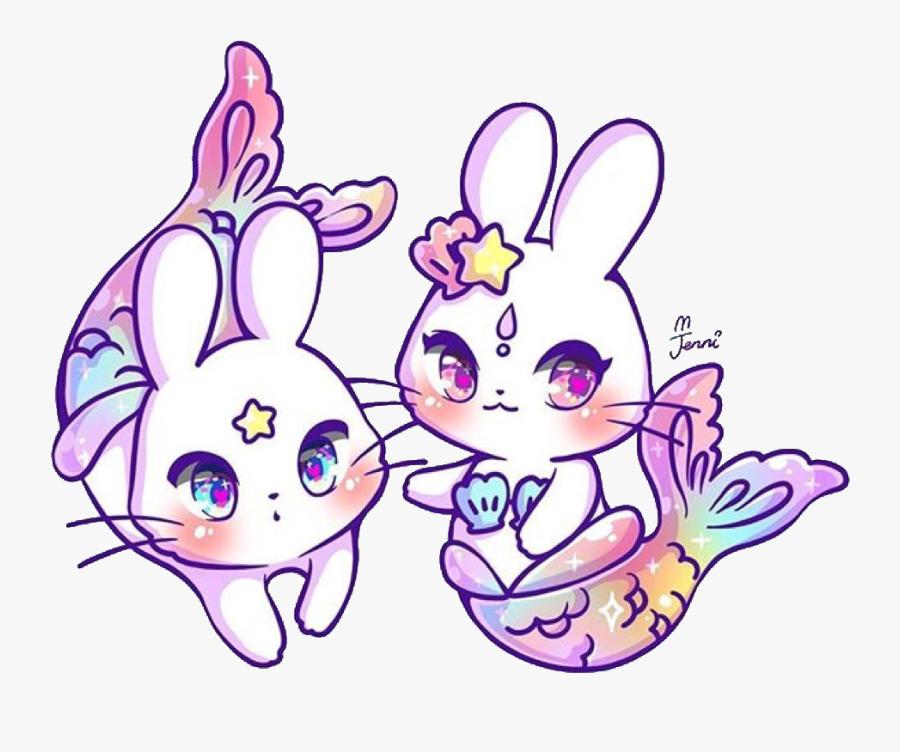 #pastel #kawaii #rainbow #mermaid #bunnies #bunny #rabbit - Jenni Illustrations, Transparent Clipart