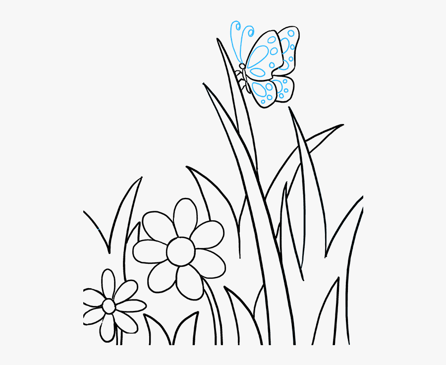 How To Draw A Butterfly Garden - Flower With Butterfly Drawing, Transparent Clipart