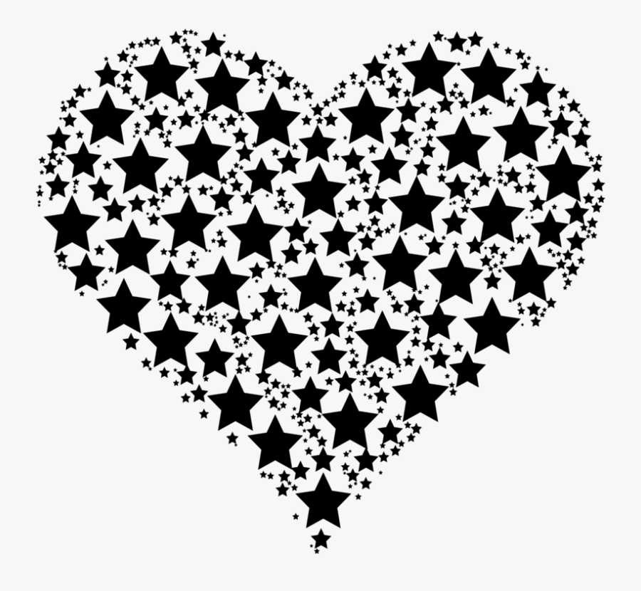 Star Drawing Computer Icons - Black Star And Heart, Transparent Clipart
