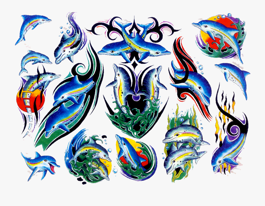 Dolphin Old School Tattoo Clipart , Png Download - Dolphin Tattoo Old School, Transparent Clipart