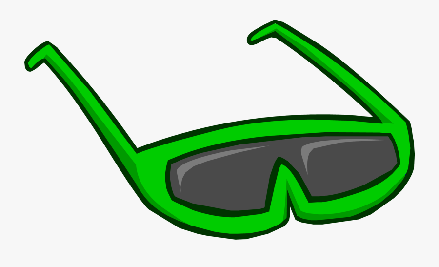 Green Sunglasses Club Penguin - Green Glasses Club Penguin, Transparent Clipart