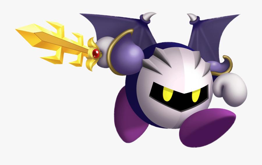 Kirby Meta Knight Running With Sword - Meta Knight Kirby Return To Dreamland, Transparent Clipart