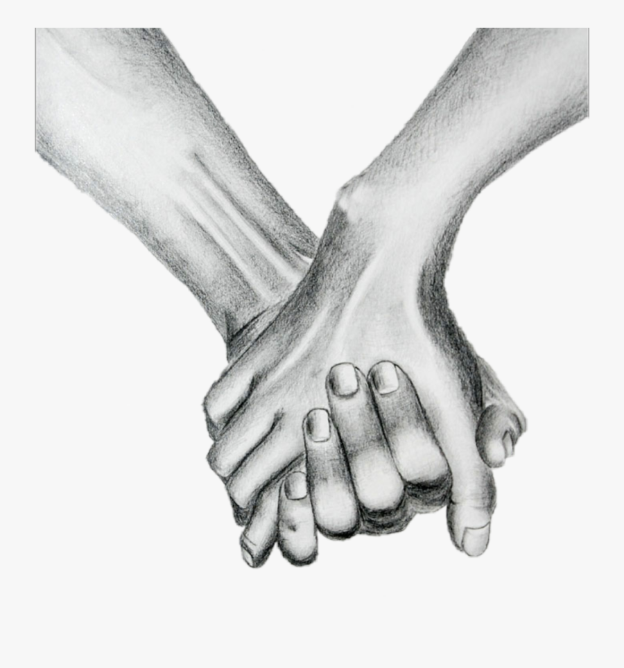 Transparent Holding Hands Clipart Black And White - Human And Skeleton Holding Hands Drawing, Transparent Clipart