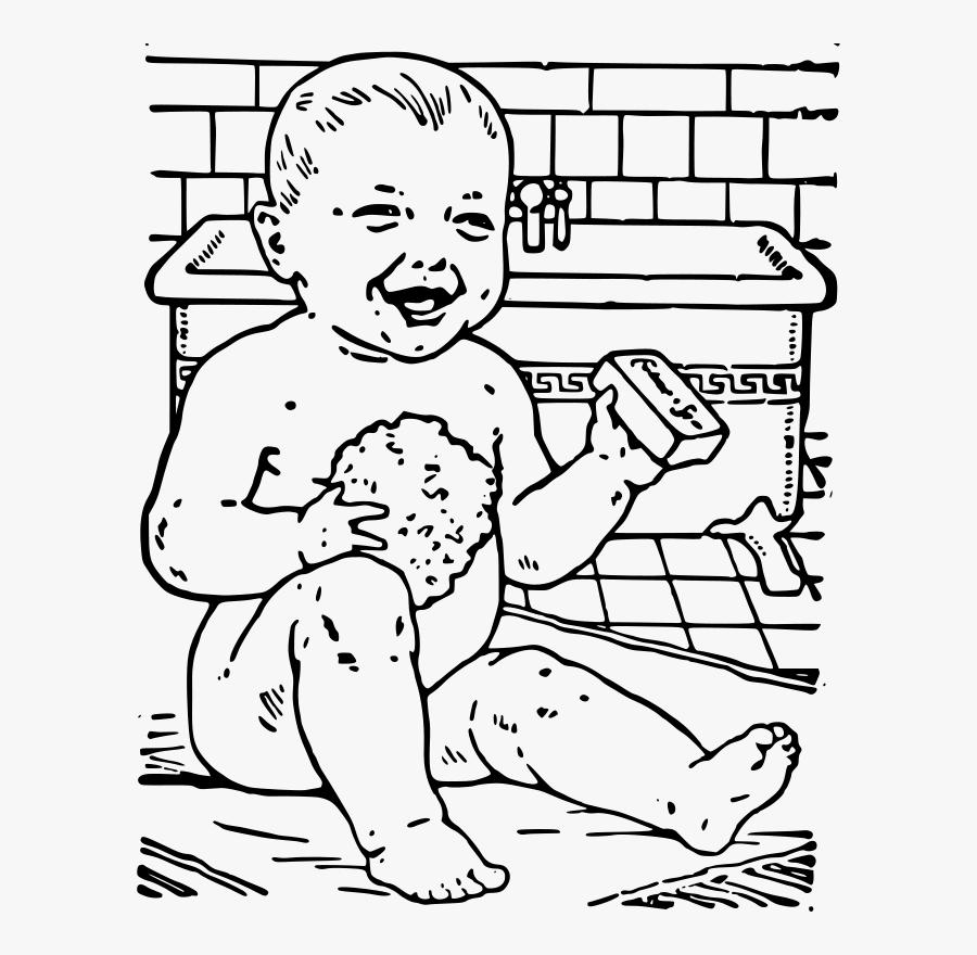 Cute Baby Clipart Gambar Hitam Putih Mandi Free