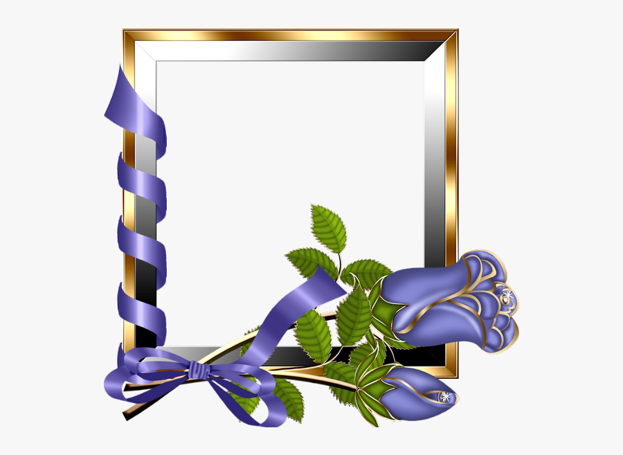 Purple Rose Clipart Frame - Beautiful Frames For Photo Editing Online, Transparent Clipart