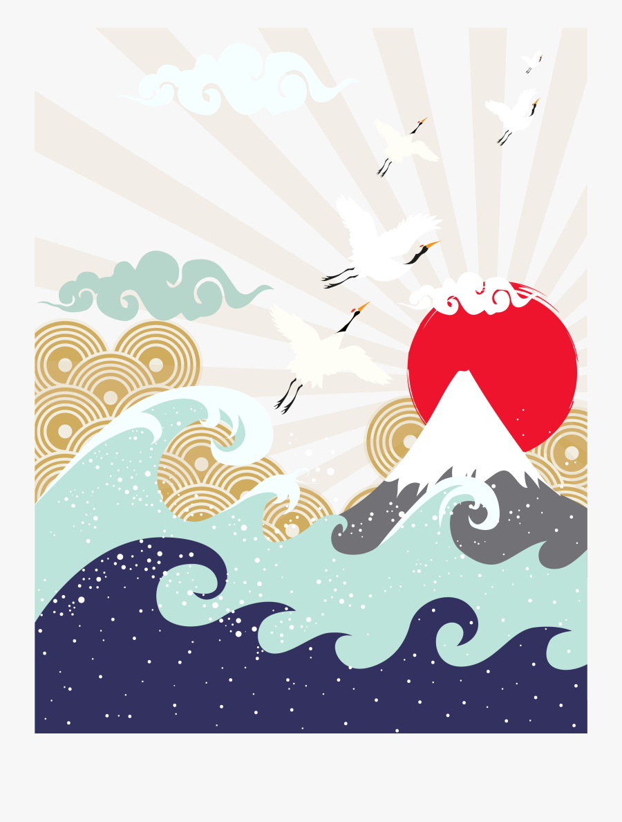Transparent Mountains Clipart Png - Japanese Wave And Mountain Drawing, Transparent Clipart