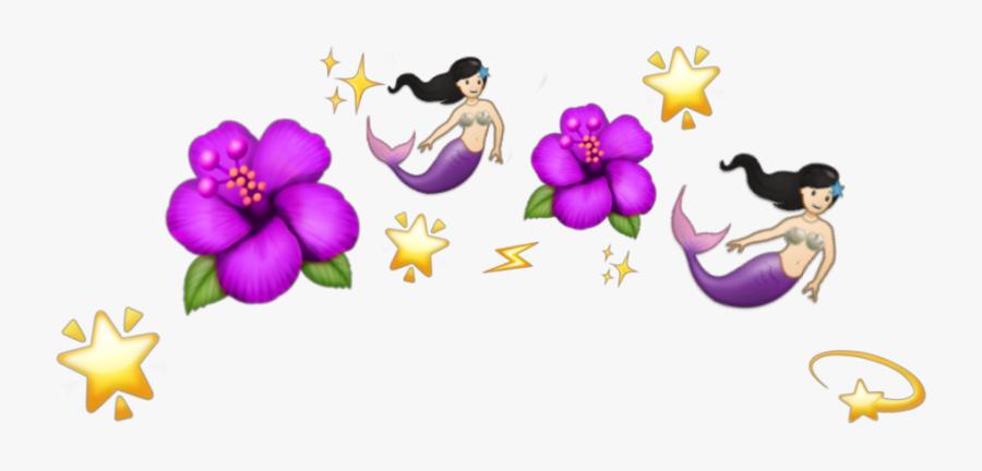 Transparent Purple Mermaid Clipart - Emoji Flower Crown Png, Transparent Clipart